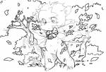 anthro bell blush bow caprine clothed clothing cub detailed_background female fur grass leaf mammal monochrome navel noriburu sheep simple_background solo standing tree vest white_background white_fur young