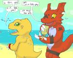 2010 agumon aliasing anthro argon_vile beach claws digimon dinosaur duo english_text green_eyes guilmon lizard male markings open_mouth outside red_skin reptile scalie seaside slightly_chubby smile sunscreen teeth text tongue yellow_eyes yellow_skinRating: SafeScore: 2User: Mario69Date: February 19, 2017