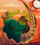 3_toes anthro ball beanie claws clothing crocodile crocodilian cybernetics cyborg hat headphones hoodie latch lethal_league looking_at_viewer machine male metal_tail neomushi prosthetic reptile scalie solo toes zipperRating: SafeScore: 10User: RambunctiousReptileDate: May 21, 2017
