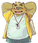 2017 anthro blush clothing eyewear garouzuki glasses kemono kounosuke_(morenatsu) male mammal morenatsu pants shirt simple_background slightly_chubby solo tanuki white_backgroundRating: SafeScore: 1User: mapachitoDate: September 01, 2017