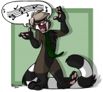 2011 3_toes 4_fingers anthro black_fur brown_fur cel_shading chest_tuft eyes_closed featureless_crotch fur greevixor hair male markings musical_note necktie open_mouth pink_nose short_hair singing socks_(marking) solo speech_bubble standing stripes tan_hair toes tongue toony tuft white_fur