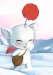 ambiguous_gender blush chibi cute final_fantasy fur mailbag membranous_wings moogle outside pom_antenna smile snow solo square_enix tiuhu video_games white_fur wings