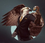 5_fingers anthro avian beak black_beak brown_feathers claws clothed clothing dragon duo eldredge_knot eva_(ozawk) eye_contact feathered_dragon feathered_wings feathers fully_clothed gloves handkerchief jacket lhuneart male missing_sample necktie orange_eyes ozawk pants shirt simple_background smile standing suit white_feathers wings