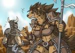 anthro armor axe body_armor brown_eyes chest_tuft claws clothed clothing duo ear_piercing fangs female gnoll grin helmet horn horned_helmet human hyena ivar_(scrungusbungus) larger_female male mammal mane melee_weapon navel neck_tuft outside piercing rakkuguy shakarri_(scrungusbungus) size_difference sky smaller_male smile spots standing teeth tuft unconvincing_armor weapon