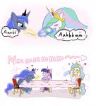 ... 2018 <3 blue_feathers blush chair cheesecake cosmic_hair crown cute cutie_mark dessert dialogue eating english_text equine eyelashes eyes_closed feathered_wings feathers female feral floppy_ears food fork friendship_is_magic group hair hi_res hooves horn levitation magic mammal multicolored_hair my_little_pony nude open_mouth open_smile peregrine plate princess_celestia_(mlp) princess_luna_(mlp) puffed_cheeks purple_feathers rainbow_hair royalty shadow sibling simple_background sisters sitting smile speech_bubble table teal_eyes text tongue twilight_sparkle_(mlp) unamused white_background white_feathers winged_unicorn wingsRating: SafeScore: 2User: GlimGlamDate: March 24, 2018
