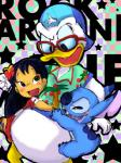 3:4 abstract_background alien annoyed anthro avian back_markings backwards_baseball_cap baseball_cap bird black_eyes black_hair blue_fur blue_nose blue_sclera blush bottomless brown_eyes checkered_background clothed clothing colored_sketch digital_drawing_(artwork) digital_media_(artwork) disney donald_duck duck experiment_(species) eyewear feathers flower footwear fur glasses group hair happy hat hawaiian_shirt head_tuft hibiscus hug human lilo_and_stitch lilo_pelekai mammal markings muumuu notched_ear nude open_mouth open_smile pattern_background plant saki_(pixiv_1507375) sandals shirt simple_background small_tail smile squint star stitch tuft white_feathersRating: SafeScore: 1User: BooruHitomiDate: September 16, 2017