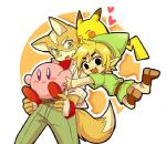 alien ambiguous_gender anthro belt canine clothing crossover fox fox_mccloud fur group jacket kirby kirby_(series) male mammal nintendo pikachu pokémon pokémon_(species) rodent star_fox super_smash_bros the_legend_of_zelda toon_link video_games waddling_head yellow_fur つぶすけ