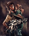 1999 alien_(franchise) alternate_species anthro curly_hair duo ellen_ripley female furrification gun hair holding_object holding_weapon karabiner protective ranged_weapon rebecca_jordan weapon young