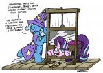 ! 2017 ? apple blue_hair bobthedalek cape clothing costume duo equine food friendship_is_magic fruit gem guillotine hair hat hi_res horn imminent_death lock long_hair magic_show mammal multicolored_hair my_little_pony open_mouth rope shirt_cuffs stage star starlight_glimmer_(mlp) text trixie_(mlp) unicorn