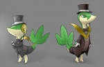 bow_tie clothed clothing duo eyewear fan_character feral fully_clothed gloves hat longlevy male monocle nintendo pokémon pokémon_(species) reptile scalie servine snivy suit tangle terribly_british top_hat video_games