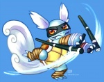 blue_background blue_body blue_skin club_(weapon) digital_media_(artwork) feathered_wings feathers haychel head_wings male melee_weapon nightstick ninja nintendo orange_eyes pokémon pokémon_(species) reverse_grip shell simple_background solo video_games wartortle weapon wings