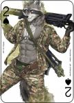 2017 abs anthro card digital_media_(artwork) dog_tags fonyaa fur gun holding_object holding_weapon looking_at_viewer male mammal military muscular muscular_male pecs playing_card procyonid raccoon ranged_weapon simple_background smile solo standing weapon