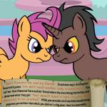 bitterplaguerat blue_eyes dialogue earth_pony english_text equine friendship_is_magic horn horse loki_(bitterplaguerat) mammal my_little_pony pegasus pony scootaloo_(mlp) text wings yellow_eyesRating: SafeScore: -2User: Aryanne_HooflerDate: April 28, 2017