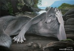2009 anthro canine claws detailed_background khaosdog lake looking_at_viewer male mammal moon nature nude outside rock sky smile solo traditional_media_(artwork) wolf
