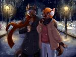 5_fingers anthro arm_around_shoulders beanie beverage black_nose brown_eyes brown_fur canine clothed clothing coat duo earmuffs front_view fully_clothed fur furgonomics gloves hair hat hi_res holding_cup hvost jacket male mammal night open_mouth orange_hair outside pants pink_nose scarf short_hair smile snow snowing standing steam street_lamp tongue white_hair