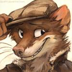 2015 anthro blacksad brown_fur bust_portrait clothed clothing flat_cap fur jacket kenket m'lady male mammal mustelid portrait simple_background smile solo weasel weekly white_background white_fur