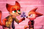 2016 4_fingers anthro big_eyes black_nose blush canine clothing disney duo eyewear fennec finnick flower food fox fur green_eyes hand_in_pocket hawaiian_shirt holding_flower holding_food holding_object hooked_eyewear jetjetj looking_aside looking_at_another male mammal necktie nick_wilde open_mouth orange_eyes orange_fur plant raised_tail shirt smile standing sunglasses tan_fur toony zootopia