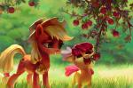 2015 absurd_res apple apple_bloom_(mlp) apple_tree applejack_(mlp) bite blonde_hair cowboy_hat cute cutie_mark duo earth_pony equine eyebrows eyelashes female feral food freckles friendship_is_magic fruit grass green_eyes grin hair hair_bow hair_ribbon hair_tie happy hat hi_res holivi hooves horse leaves mammal mouth_hold my_little_pony nude orange_eyes outside pony red_hair ribbons sibling signature sisters smile standing teeth tree tree_branch youngRating: SafeScore: 7User: GlimGlamDate: June 17, 2018