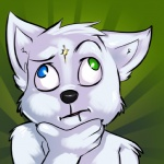 <_> abstract_background ambiguous_gender anthro black_nose blue_eyes bust_portrait canine derp_eyes digital_media_(artwork) drooling front_view fur green_background green_eyes hand_on_chin heterochromia ivybeth mammal nude portrait saliva simple_background solo thinking what white_fur wolf