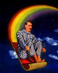 adolf_hitler clothing cloud cloudscape facial_hair human humor low_res magic_carpet male mammal mustache night not_furry outside pajamas rainbow rainbow_arch real_world serious_business sky sled sleigh solo star starry_sky unknown_artist what