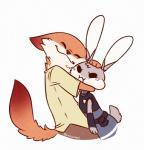 anthro canine clothing cute disney duo female fox hug judy_hopps lagomorph male mammal nemirutami nick_wilde rabbit zootopiaRating: SafeScore: 49User: bonghit840Date: June 18, 2018