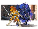2017 anthro anthrofied armor bikini blue_eyes boots border breasts chainmail_bikini cleavage clothed clothing collar cosmic_hair duo equine feathered_wings feathers female footwear friendship_is_magic frown gloves hair holding_object holding_weapon horn jewelry mammal melee_weapon my_little_pony navel necklace open_mouth photo_background princess_luna_(mlp) rabbi-tom red_hair red_shetland richard_konkle standing swimsuit sword unconvincing_armor vambraces weapon white_border winged_unicorn wings