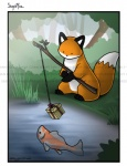 2009 ambiguous_gender black_eyes canine distracting_watermark duo emily_chan feral fish fishing fox gift koi mammal marine stupidfox watermark