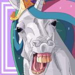 2014 alternate_form crown digital_media_(artwork) equine female feral friendship_is_magic hair headshot_portrait horn looking_at_viewer mammal merumeto multicolored_hair my_little_pony nightmare_fuel open_mouth portrait princess_celestia_(mlp) purple_eyes simple_background solo teeth tiara tongue unicornRating: SafeScore: 4User: CalliponDate: October 22, 2017