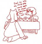 anthro bed boss_monster caprine clothing comic dialogue duo english_text female goat hair hi_res human kneeling male mammal monochrome mother open_mouth parent pillow protagonist_(undertale) simple_background son text tired-fandom-trash toriel undertale video_games white_backgroundRating: SafeScore: 1User: Cat-in-FlightDate: April 23, 2018