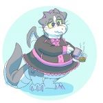 2017 anthro belly beverage big_belly cat claws clothed clothing coffee crossdressing digital_drawing_(artwork) digital_media_(artwork) dragon dress eyewear feline fur glasses grey_fur hybrid intoxicat2 liquid long_tail maid_uniform male mammal membranous_wings overweight pink_claws scalie simple_background solo sugar sweat toxi uniform white_fur wingsRating: SafeScore: 4User: meowmcmeowDate: May 19, 2017