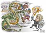 2015 armor ben_garrison commentary duo english_text female human humor hydra male mammal melee_weapon milo_yiannopoulos multi_head parody politics pyramid shield sword text weaponRating: SafeScore: 46User: RobinebraDate: October 28, 2015