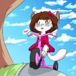 2017 anthro brown_eyes brown_hair cat clothed clothing cub cute digital_media_(artwork) eyewear fejess96 feline female fur glasses hair hi_res jessica_(fejess96) mammal open_mouth outside smile solo tricycle white_fur youngRating: SafeScore: 2User: chris_sankaDate: September 21, 2017