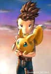 2002 belt blowing_hair blue_eyes brown_hair clothing cloud cute digimon duo female fur hair hug human jeans karabiner mammal outside pants purple_eyes rika_nonaka size_difference sky sunset viximon windy yellow_fur