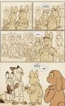 2017 anthro barefoot bonnie_hopps buckteeth canine clothed clothing comic daughter dialogue dipstick_ears disney ear_piercing english_text eyes_closed family father female fox gloves_(marking) group handshake hat hi_res judy_hopps lagomorph male mammal markings mistermead monochrome mother necktie nick_wilde overalls pants parent piercing rabbit sepia shirt size_difference speech_bubble stu_hopps teeth text thumbs_up zootopia