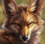 2018 abstract_background ambiguous_gender black_lips black_nose brown_fur canine countershade_torso countershading detailed_fur feral fox fur green_background half-closed_eyes headshot_portrait icon inner_ear_fluff kenket long_mouth looking_at_viewer mammal no_sclera one_eye_closed orange_eyes painting_(artwork) portrait red_fox shadow simple_background slit_pupils smile snout solo traditional_media_(artwork) whiskers white_countershading white_fur wink