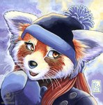 2007 anthro cute female kacey mammal red_panda snow solo whiskers winter