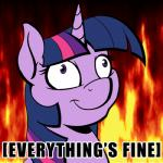 acesential animated english_text equine eyelashes female feral fire friendship_is_magic fur hair hell horn horse insane lol_comments long_hair low_res mammal multicolored_hair my_little_pony pony purple_eyes purple_fur purple_hair purple_horn reaction_image smile solo text this_is_fine twilight_sparkle_(mlp) two_tone_hair unicornRating: SafeScore: 116User: TwigsDate: March 17, 2015