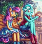 2017 anthro anthrofied bonbon_(mlp) cake clothing dress duo eating emale equine female food friendship_is_magic horn horse jowybean lyra_heartstrings_(mlp) mammal my_little_pony pony unicorn