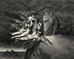 black_and_white butt clothed clothing dante_alighieri demon divine_comedy engraving flying fully_clothed group gustave_doré hatching_(technique) hell hi_res holding_object holding_weapon illustration inferno large_group male melee_weapon membranous_wings monochrome nude outside polearm proper_art side_view standing virgil weapon wings