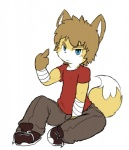 2017 annoyed anthro bandage biceps big_head blue_eyes brown_hair canine claws clothed clothing digital_media_(artwork) fox fully_clothed fur hair kemono looking_at_viewer male mammal middle_finger oob pants shirt short_hair simple_background sitting sneakers solo t-shirt teenager toony white_background yellow_fur youngRating: SafeScore: 0User: SnowBootiesDate: April 24, 2017