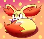 abstract_background ambiguous_gender canine fennekin feral fox inika-xeathis mammal nintendo orange_eyes pokémon solo video_games