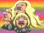 2016 alolan_dugtrio amazing black_eyes blonde_hair brown_skin hair he-man humor long_hair male masters_of_the_universe meme mykiio nintendo parody pink_nose pokémon pokémon_(species) rainbow_background regional_variant rock simple_background sparkles video_games
