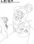 arms_above_head ball basketball basketball_(ball) basketball_court basketball_hoop breasts claws clothed clothing dragon fangs female footwear hair high-angle_view holding_ball horn j_axer jumping legwear leigh line_art membranous_wings midriff net open_mouth playing_sport scalie shoes shorts sneakers socks solo spread_wings thick_tail tongue tongue_out wings wristband