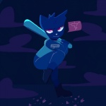 baseball_bat cat feline female mae_(nitw) mammal night night_in_the_woods outside pink_eyes sharkosenpai