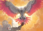 avian backlit beak bird duo eagle feral flying front_view humanoid magic_the_gathering official_art sidharth_chaturvedi solo_focus spread_wings talons wings