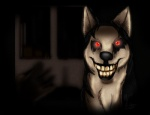 absurd_res ambiguous_gender canine creepy creepypasta dark_background dog feral grin hi_res husky looking_at_viewer mammal nightmare_fuel red_eyes smile smile.dog solo teeth unknown_artist