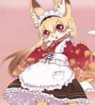 anthro blush canine clothing cute female fox fur hair japanese_clothing kemono loli long_hair mammal orange_fur orange_hair red_eyes solo unknown_artist young