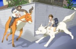 ambiguous_gender ashitaka brown_hair canine clothing female feral ghibli group hair horn human male mammal princess_mononoke pumapuma san_(princess_mononoke) school_uniform street street_corner uniform what wolf yakkul