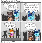 awoo bad_dragon bottomless canine clothed clothing collar comic extrafabulouscomics fox furcon humor joke lagomorph male male/male mammal parody paws rabbit sirens snootbooper song striped_armwear tongue tongue_out wolfRating: SafeScore: 22User: SnootBooperDate: February 09, 2018