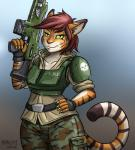 2016 5_fingers anthro armor assault_rifle brown_hair eyelashes faith_(heresy) feline felinid female green_eyes gun hair hand_on_hip heresy_(artist) hi_res humanoid hybrid imperial_guard mammal ranged_weapon rifle scar slit_pupils smile smirk solo standing tiger trigger_discipline warhammer_(franchise) warhammer_40000 weapon